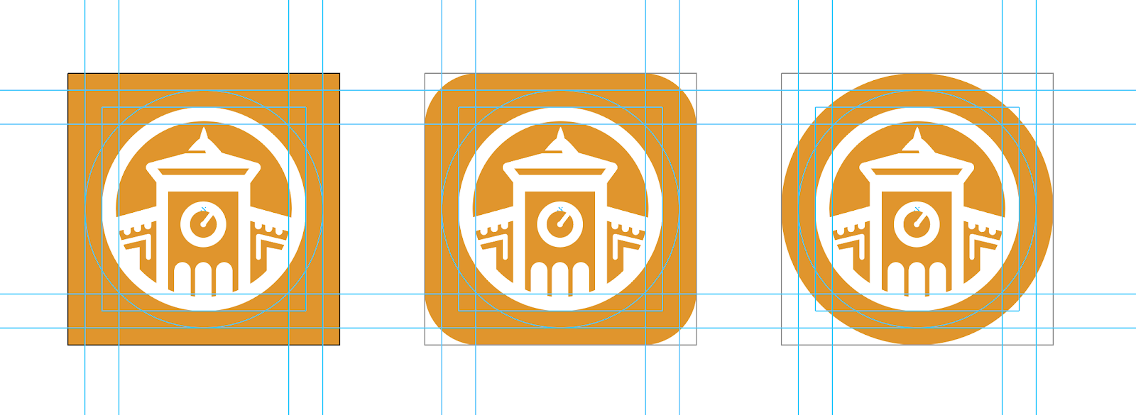 Example of icon in square, rounded corner, and circle formats