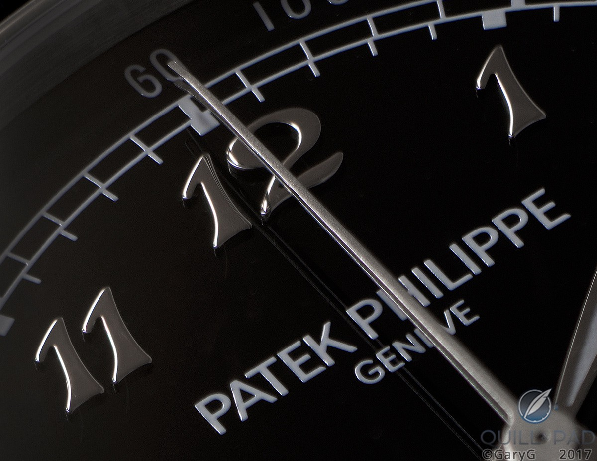 Dial detail of the Patek Philippe Reference 5370P highlighting the Breguet numerals and frosted chronograph hands
