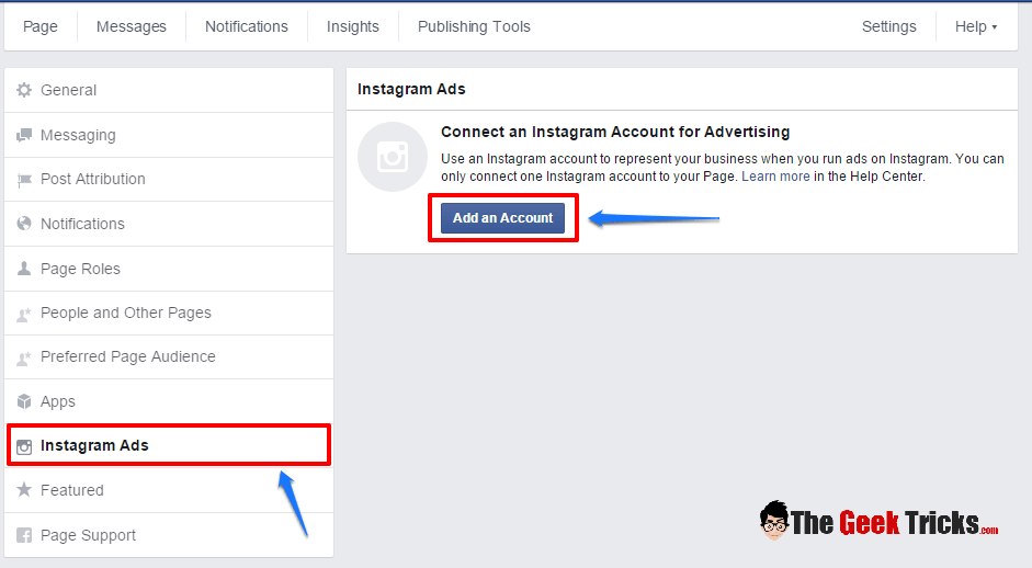 How to add instagram account to facebook page for advertising step 4 to add an instagram account to your facebook page for advertising click add an account ccuart Choice Image