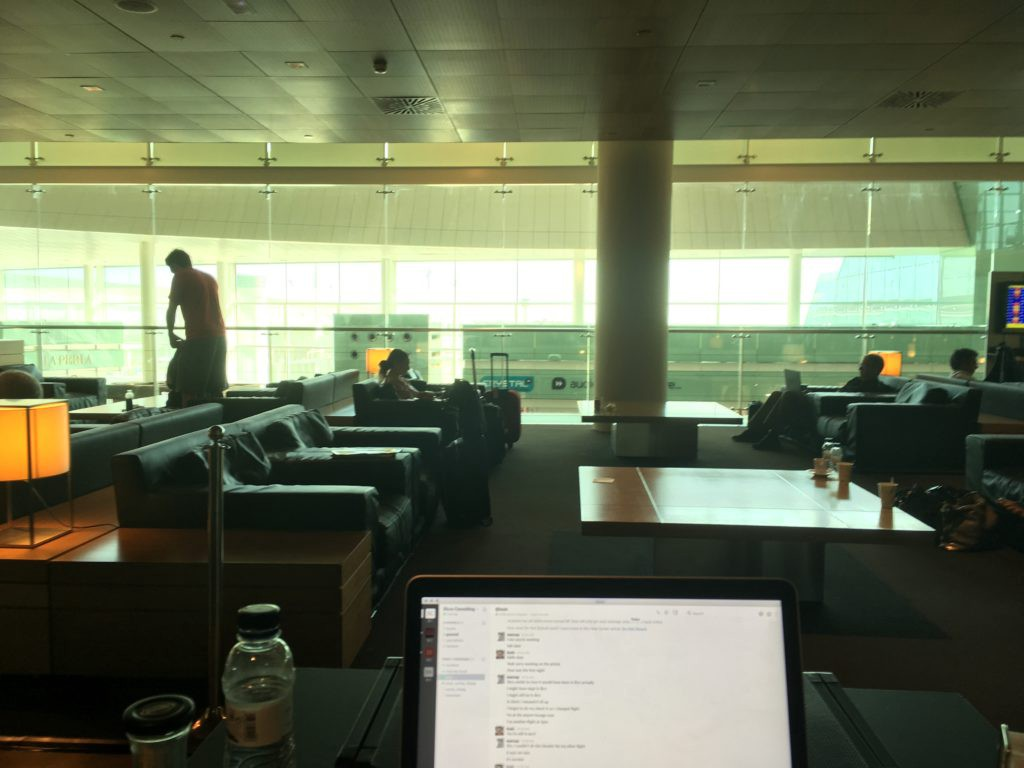 Working from an airport lounge