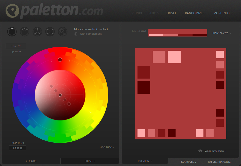 Front page screenshot of Palleton Color Generator