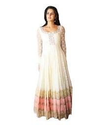 Puffin White Embroidered Faux Georgette Regular Dress Material