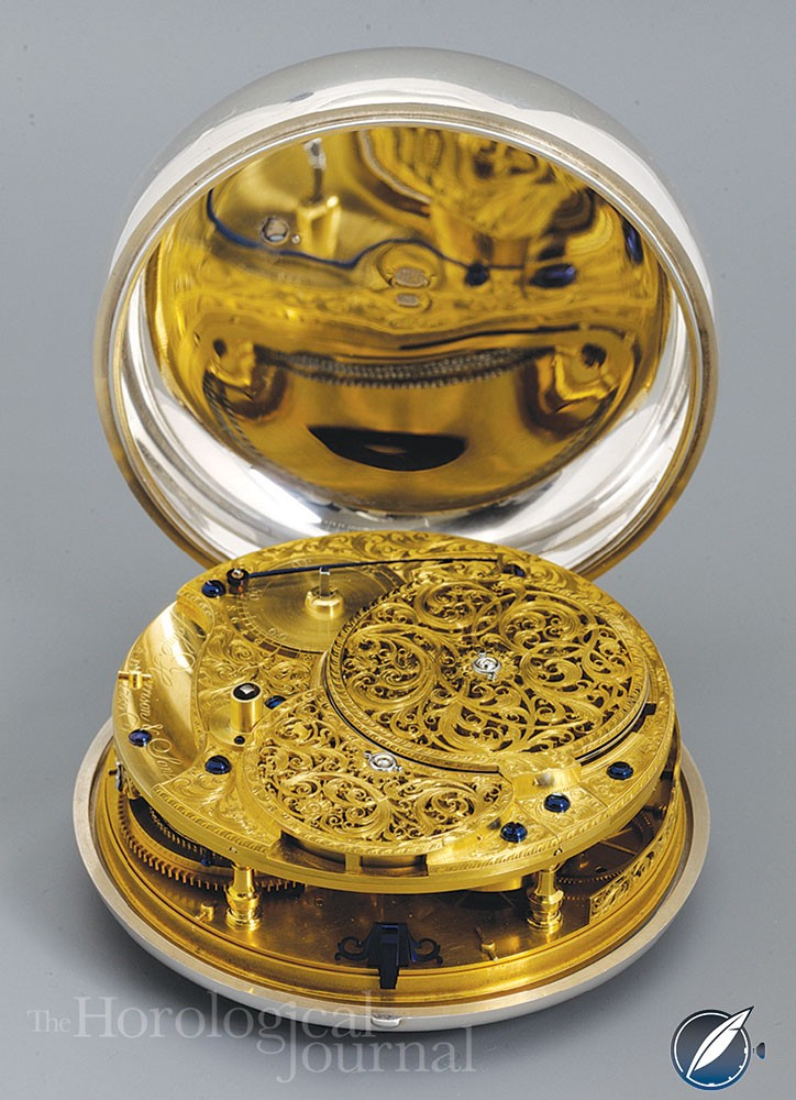 Derek Pratt's H4 showing the completed movement and Charles Scarr's piercing and engraving
