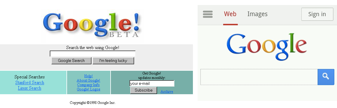 Google from 1998 and from 2014