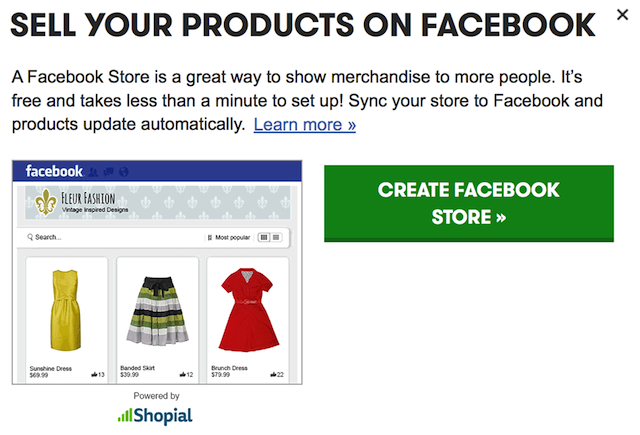 Facebook Store for Ecommerce