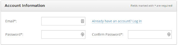 Screenshot of SiteGround account information signup form