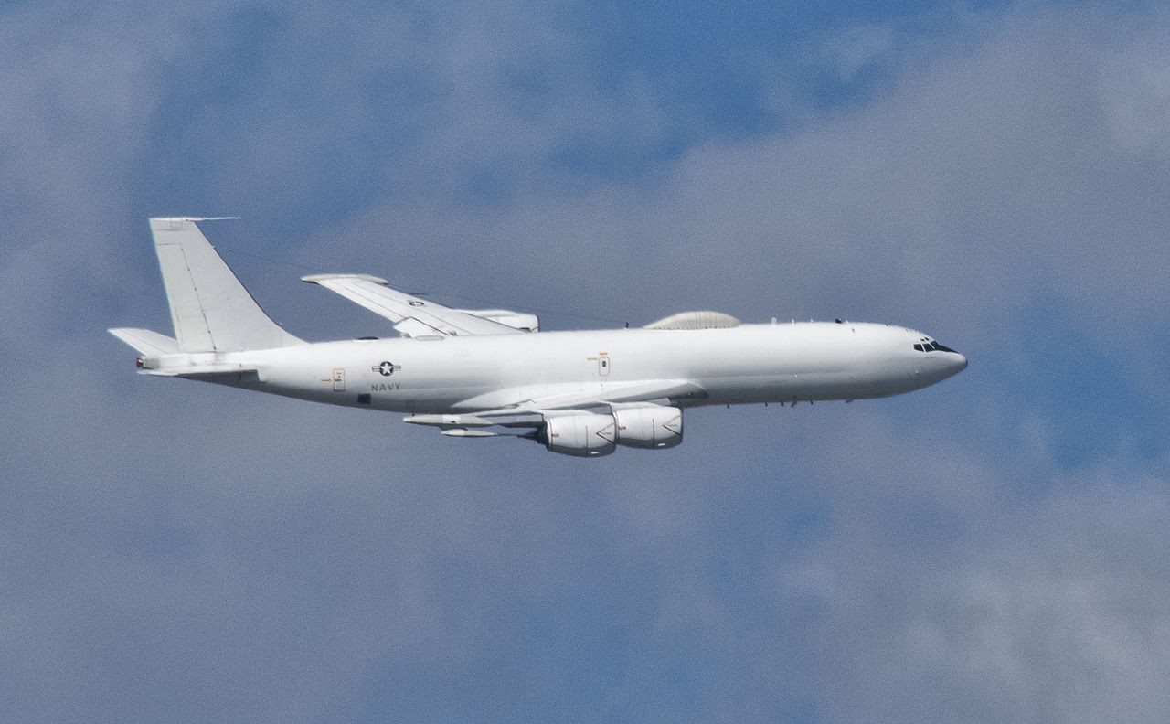 """Above - an E-6B Mercury. At top - USS George Washington, one of the """"41 for Freedom."""" Navy photos"""