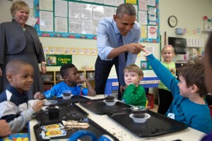 President Obama with students