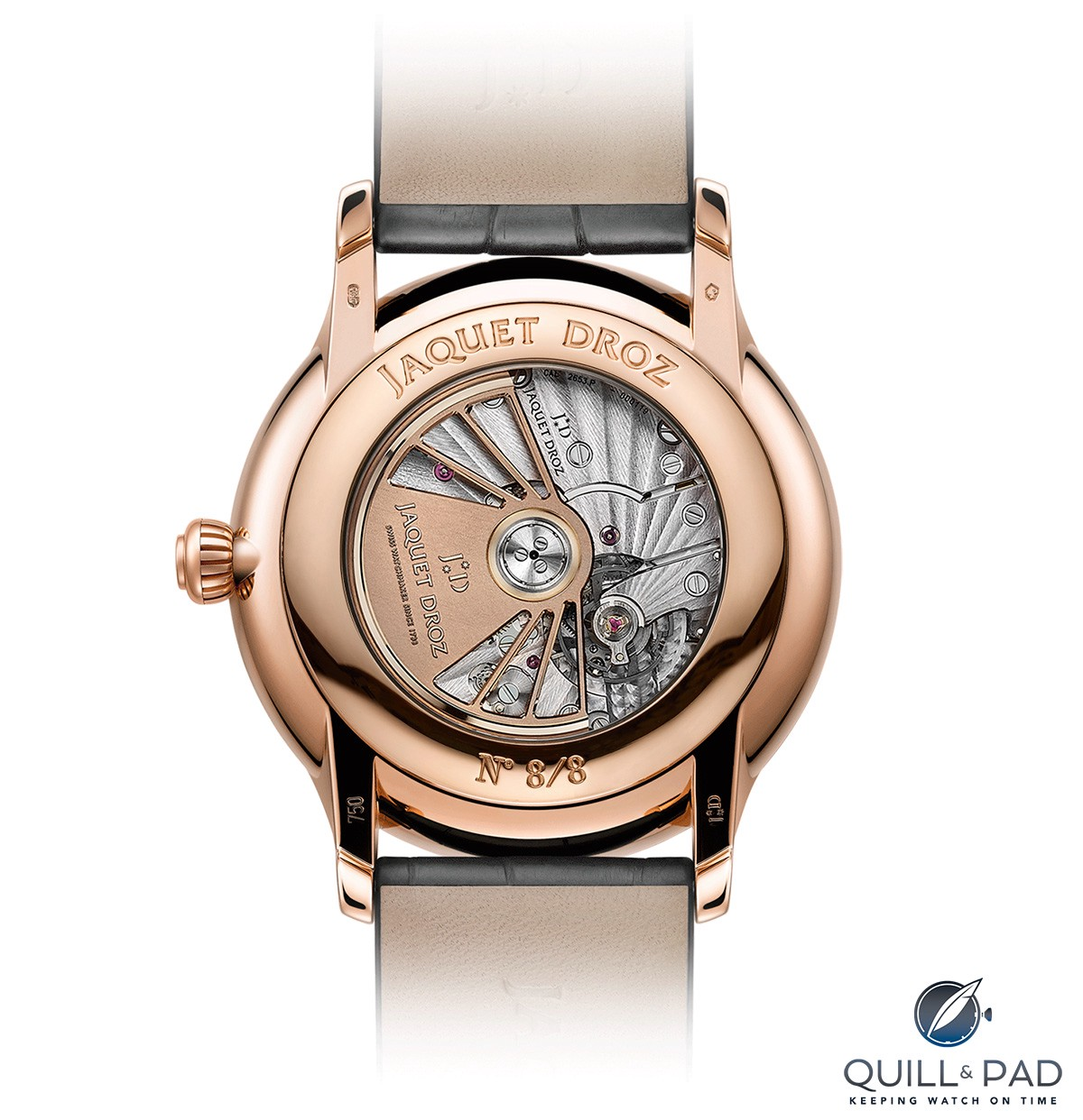 View through the display back of the Jaquet Droz Petite Heure Minute Paillonnée