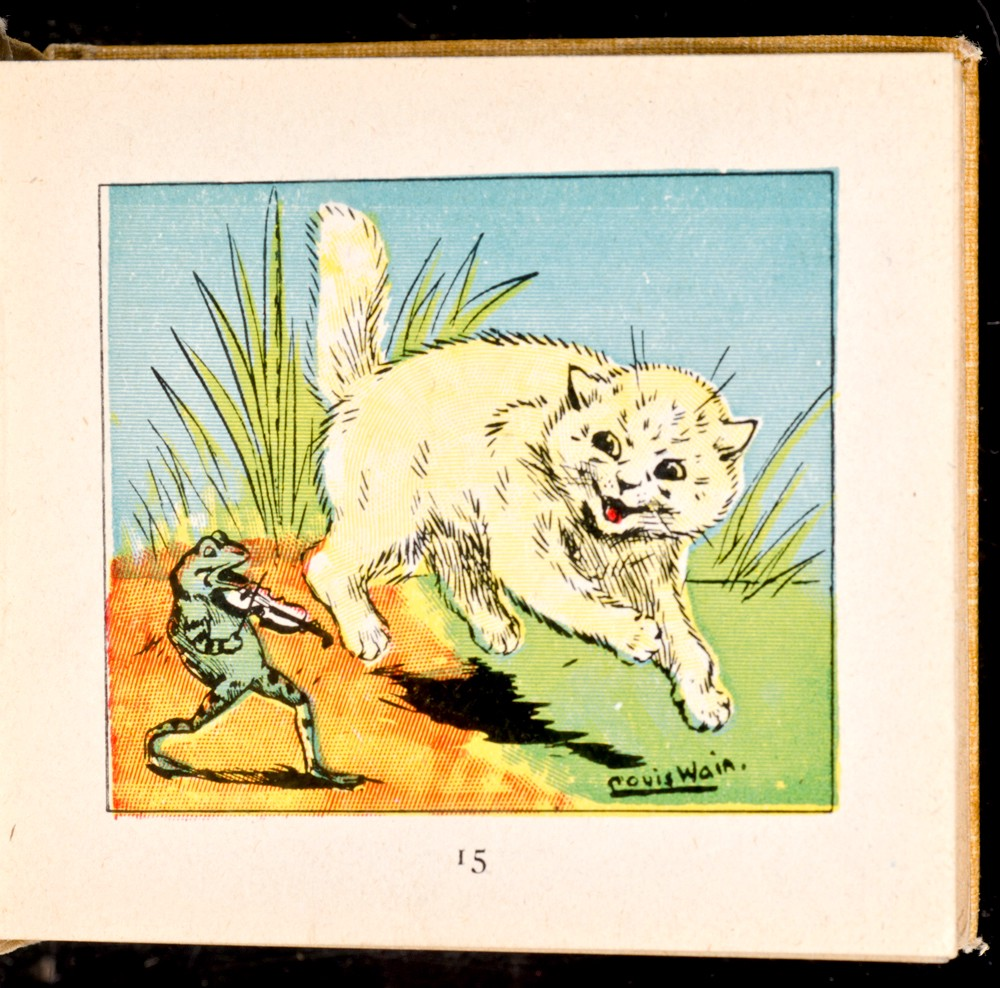 Louis Wain, Kitten Book, white cat and frog playing a violin