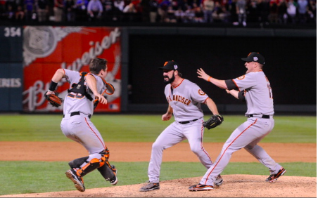 The 2010 San Francisco Giants celebrate the 2010 World Series.
