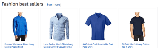 Image showing best selling blue shirts on an ecommerce shop