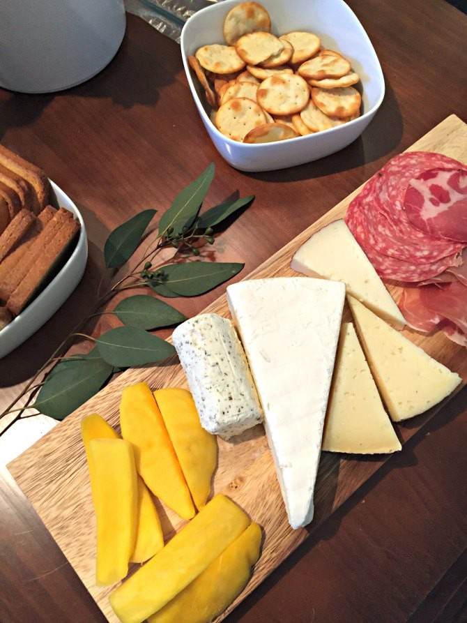 wine and cheese plate