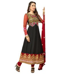 Vineberi Karishma Kapoor Black & Dark Red Combo Embroidered Unstitched Party Wear Dress Material With Georgette Dupatta