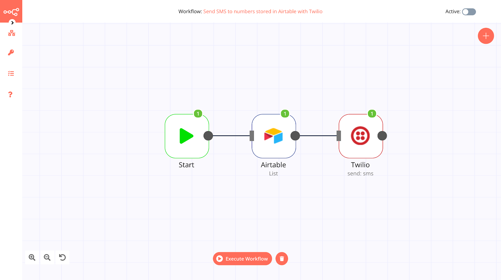 Screenshot of the workflow for sending SMS to numbers stored in Airtable