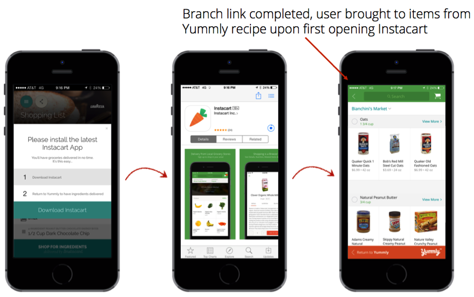 instacart yummly mobile app flow with branch