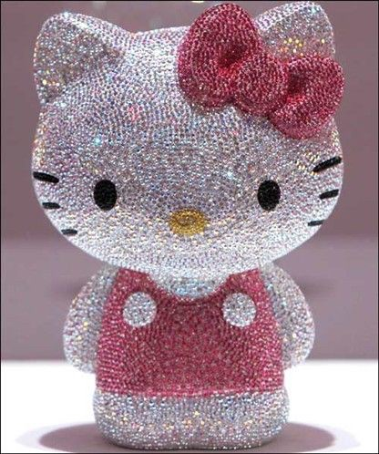 A Hello Kitty figurine, studded with a total of 19,636 Swarovski crystals