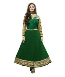 Royal N Rich Semi Stitched Green Dress Material