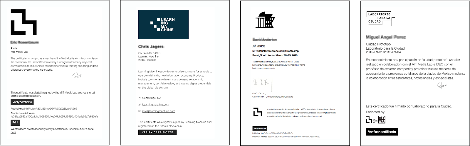 What we learned from designing an academic certificates system on digital certificate examples from various deployments of our cert viewer codebase left to right mit media lab alumni learning machine employee 1betcityfo Choice Image