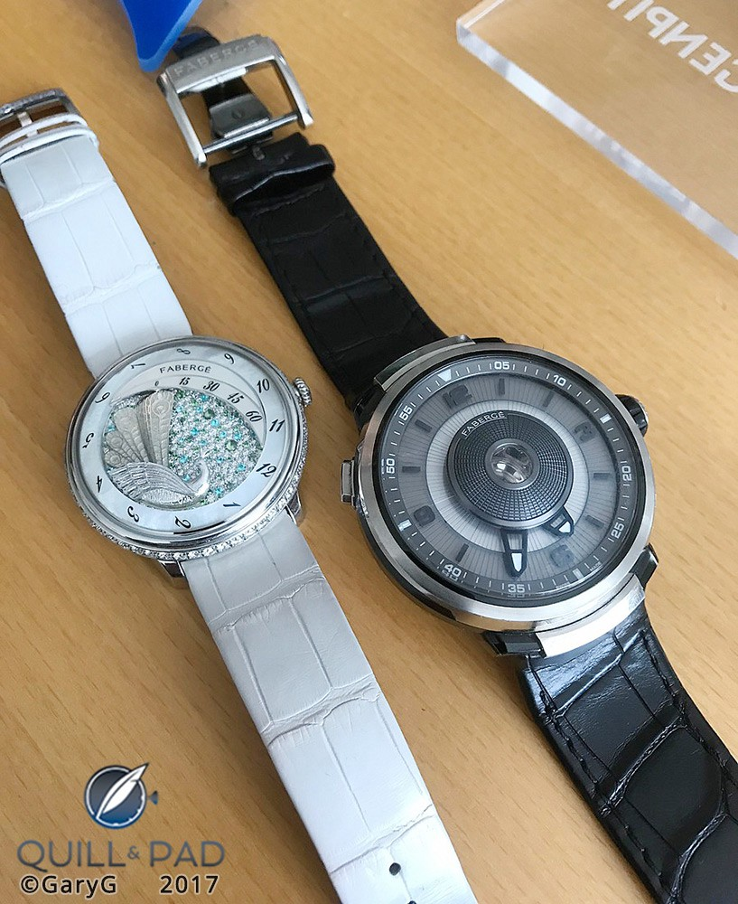 Beautiful embodiments: the Fabergé Lady Compliquée and Visionnaire DTZ, both based on Agenhor innovations in retrograde indications and open-centered movements