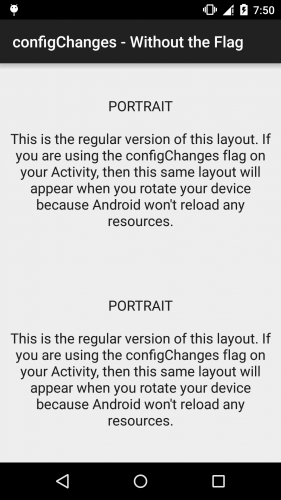 Android - configChanges - Without the Flag - Portrait