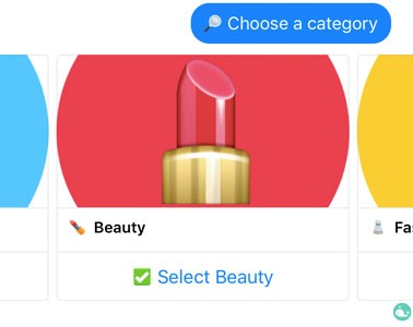 Swelly uses colorful backgrounds and emojis for their categories