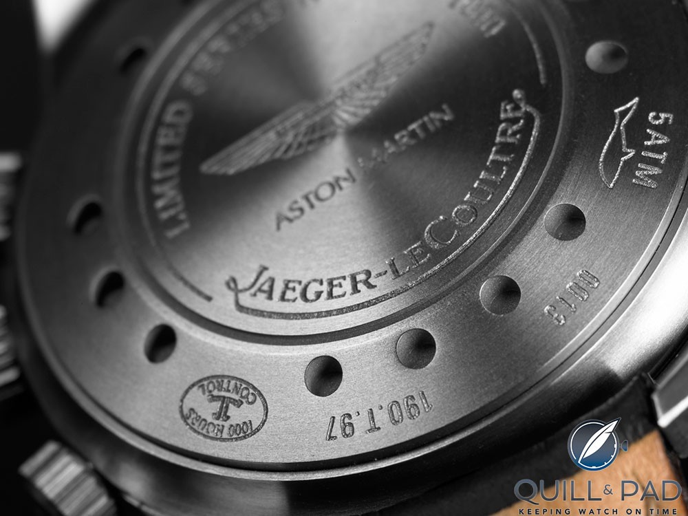 Engraved back of the Jaeger-LeCoultre Amvox 1 Alarm in titanium