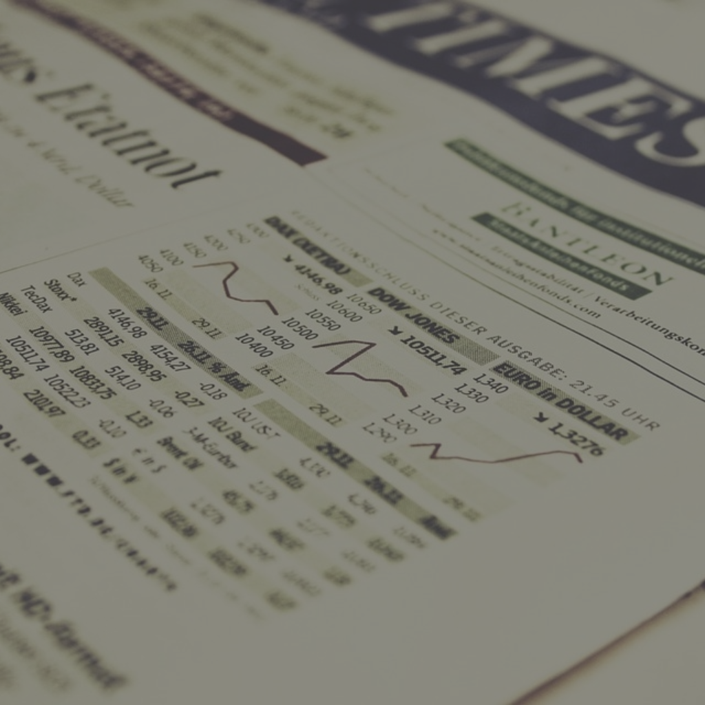 A finance section of a newspaper, showing stock index performance