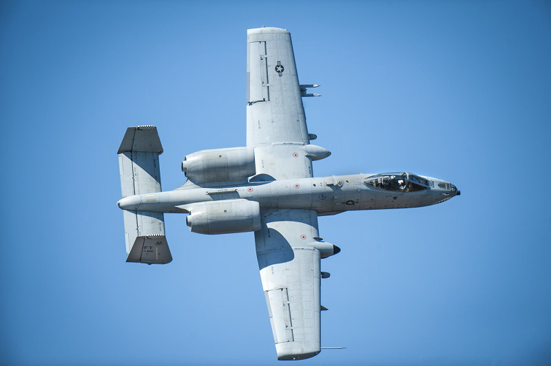 An A-10C Thunderbolt II from the 23rd Fighter Group performs a show-of-force maneuver during a training exercise, Feb. 11, 2016, at Moody Air Force Base, Ga. Multiple U.S. Air Force aircraft within Air Combat Command conducted joint aerial training at Grand Bay Bombing and Gunnery Range. During the training, the aircraft conducted tactical air and ground maneuvers, as well as weapons training.
