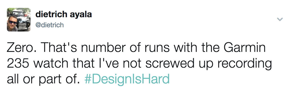 Screenshot of @dietrich tweeting about failing to record on his Garmin 235 running watch