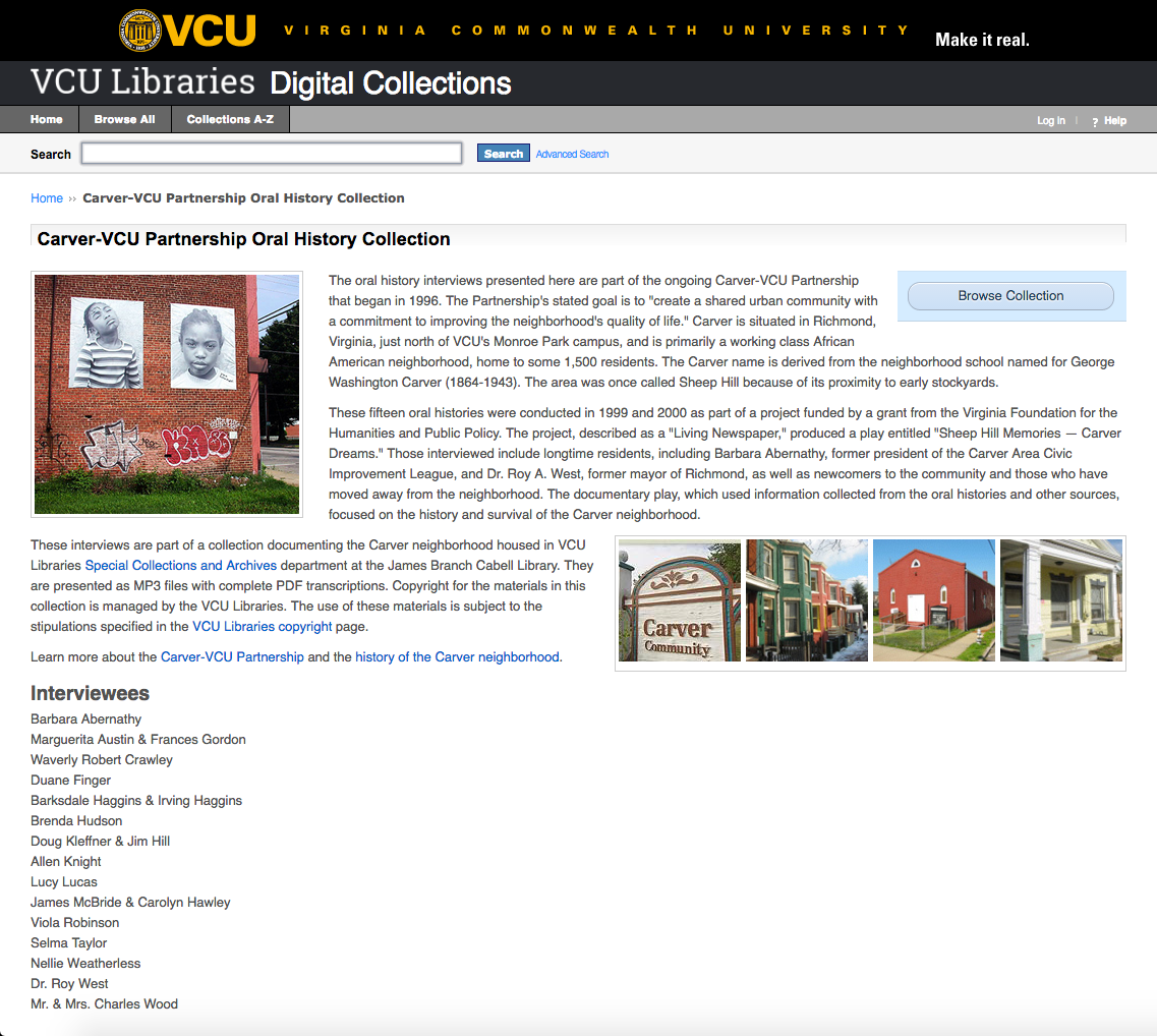 Carver-VCU Partnership Oral History Collection