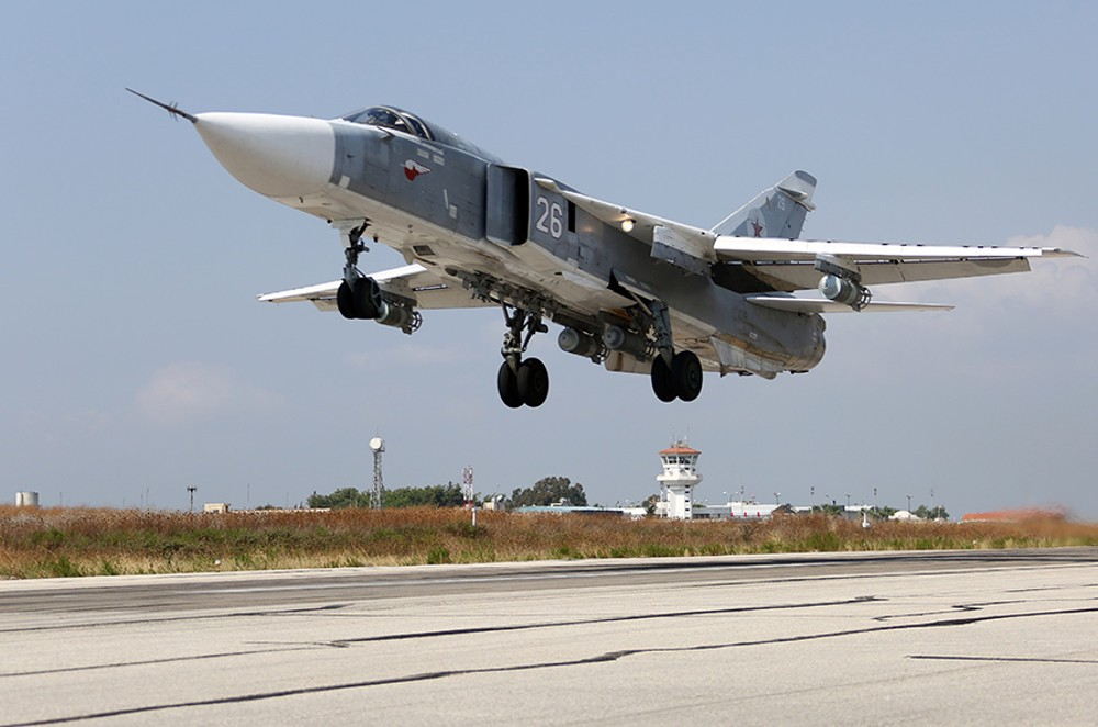 A Russian Su-24 Fencer bomber takes off for a mission in Syria. Russian Ministry of Defense photo
