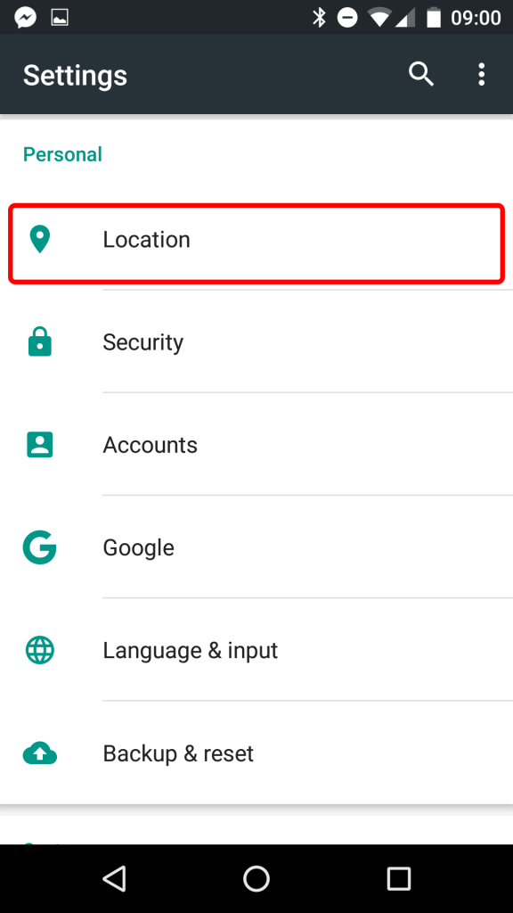 click-on-location-in-settings-android
