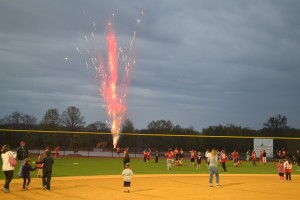 A fireworks display marked the end of the grand opening ceremony for Evesham's new Diamonds at Arrowhead Park on Wednesday, May 7. Kids were asked to run out to center field for a surprise before the display started. Hundreds of Evesham residents attended the event.