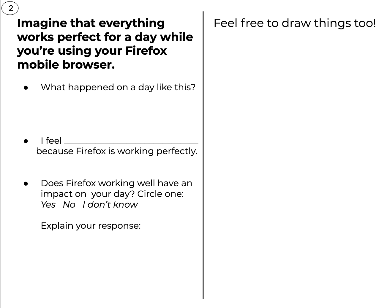 "Image of one of our workshop worksheets where we asked participants to think about a ""perfect day"" using Firefox."