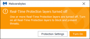 Malware Byte Premium Real-Time Protection Layers turned off