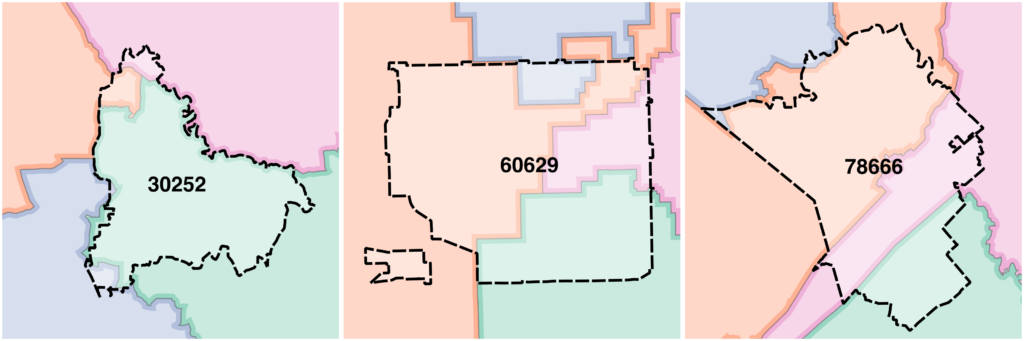 ZIP codes sometimes overlap with 4 congressional districts
