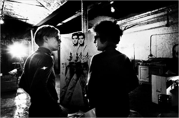 Andy Warhol and Bob Dylan at the Factory