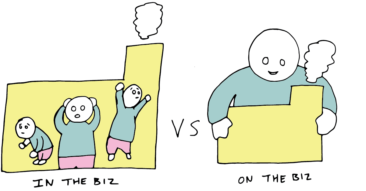 An illustration showing a manager trapped in the business, vs working above it