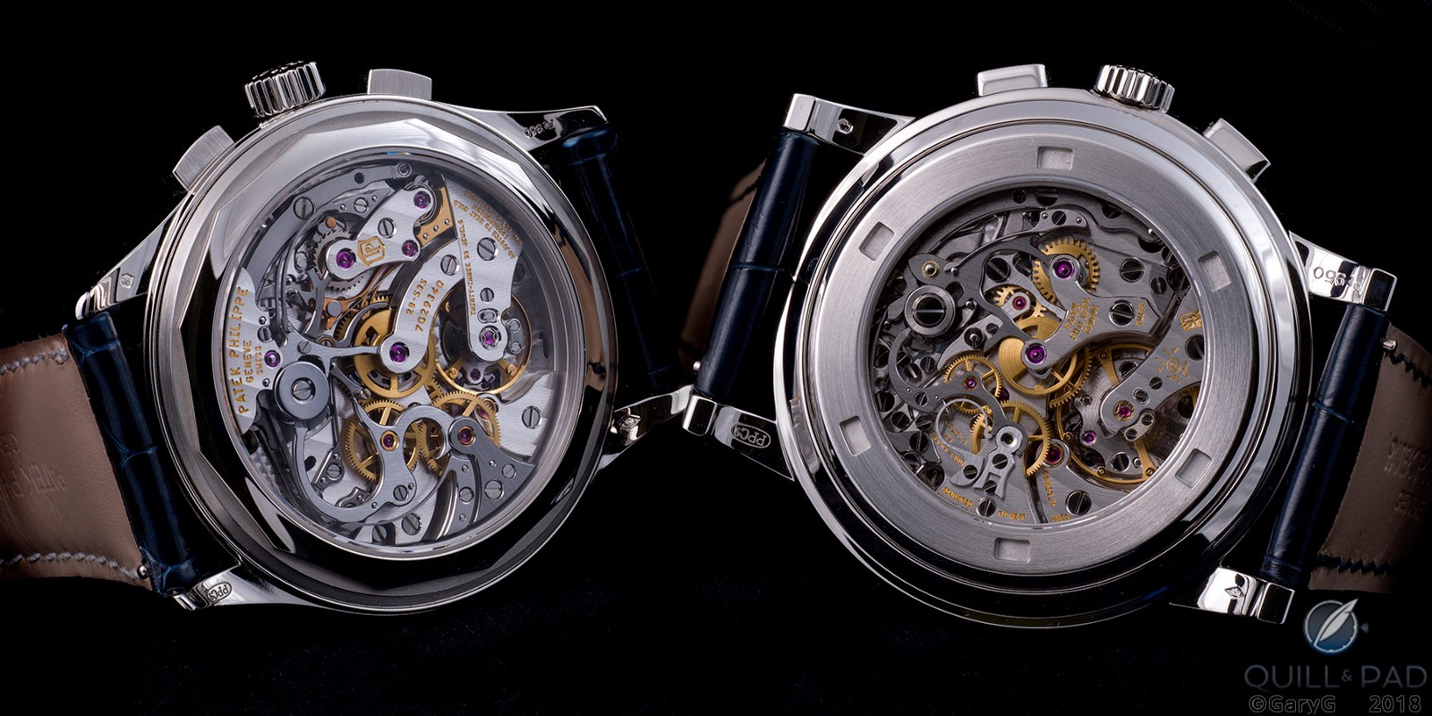 Movement views, Patek Philippe Reference 5170P (left) and Reference 5070P