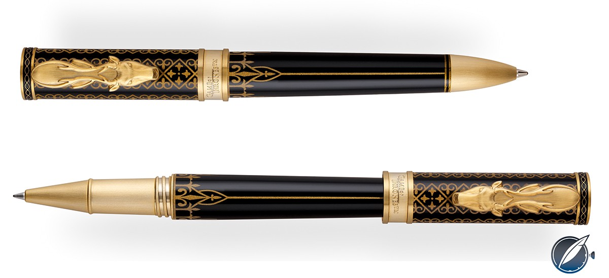 Montegrappa 'Game of Thrones' House Baratheon ball point (top) and roller ball