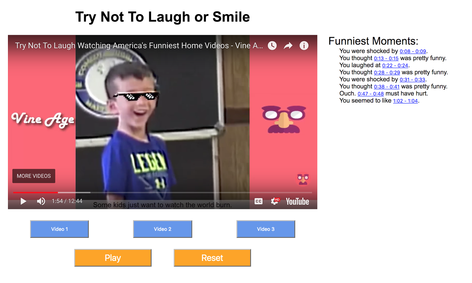 Image of: Laugh Challenge Screenshot Of Our System Including Embedded Video And Time Frame Links Stream Vlog Design For Wellbeing Try Not To Laugh Or Smile Bucknell Hci Medium