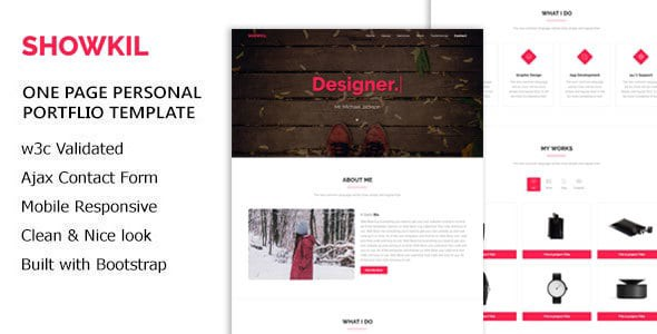 SHOWKIL Is A Clean Simple Unique Modern One Page Personal Portfolio HTML5 Template It Perfect To Showcase Your Project Item Responsive For Any