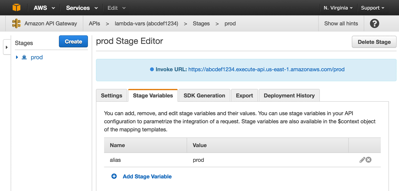 AWS staging variables
