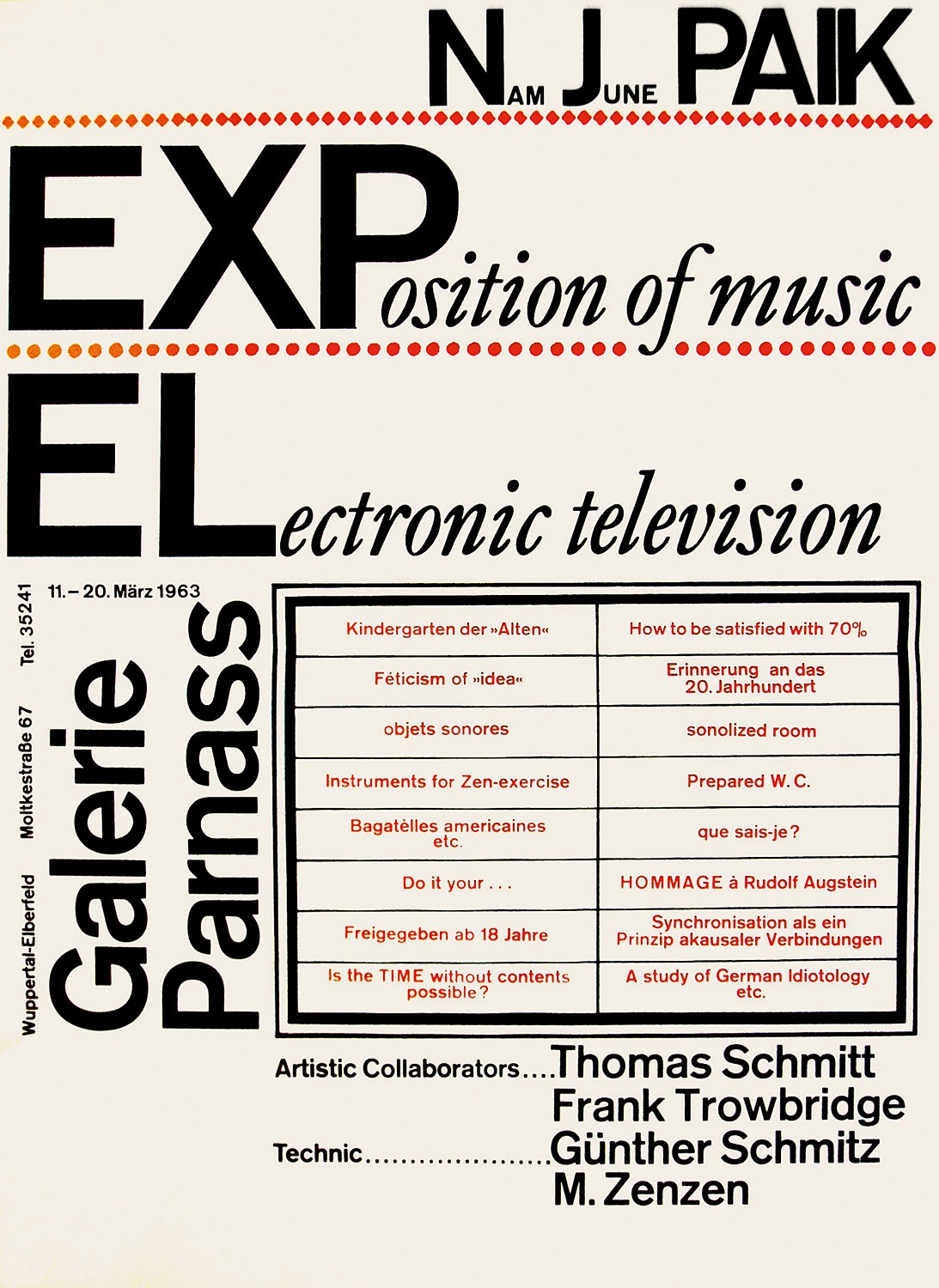 Paik_Exposition of Music  – Electronic Television« in der Galerie Parnass, Wuppertal, 1963