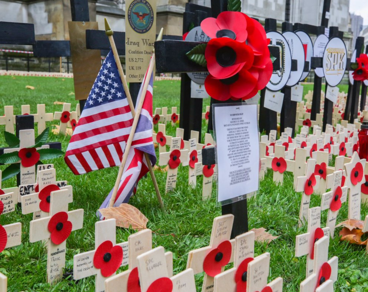 The American plot at the Westminster Abbey Field of Remembrance to commemorate the 100th anniversary of the end of World War One, November 11, 2018, London, UK.