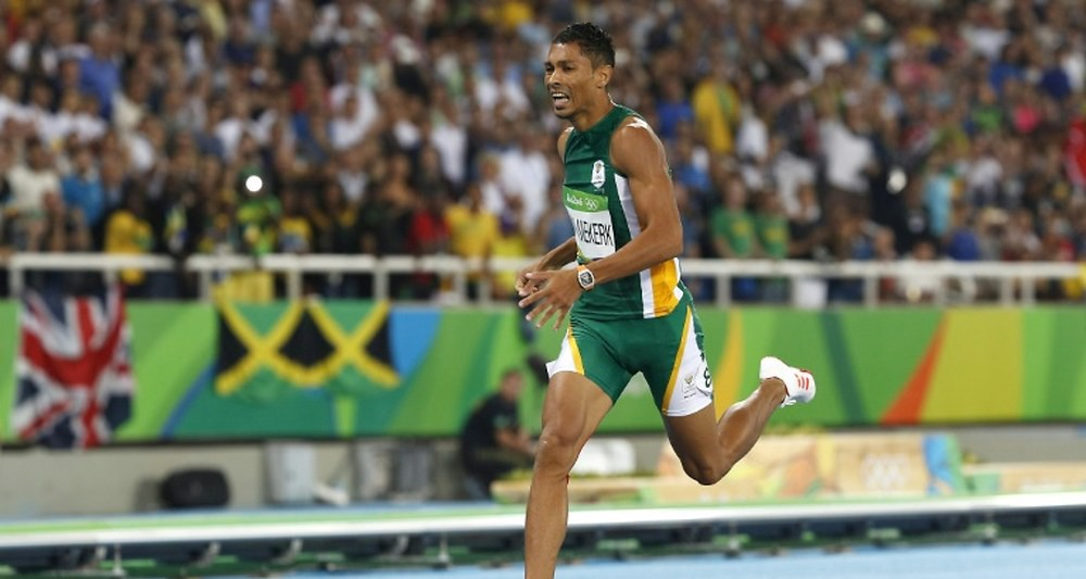 Wayde van Niekerk wearing a Richard Mille as he wins and sets a new world record in the 400 meter final at Rio 2016