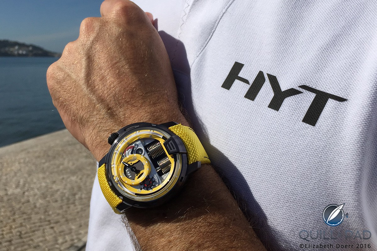 Yellow HYT Colorblock H1 on the wrist