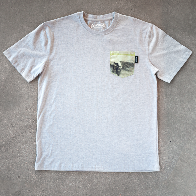 f53eb8db1 Custom Pocket Tee Featuring Woven Label and Surf Imagery, Produced For  Alaskan Brewing Co.
