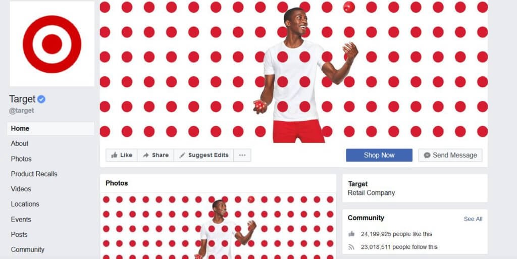 facebook page optimized example 1